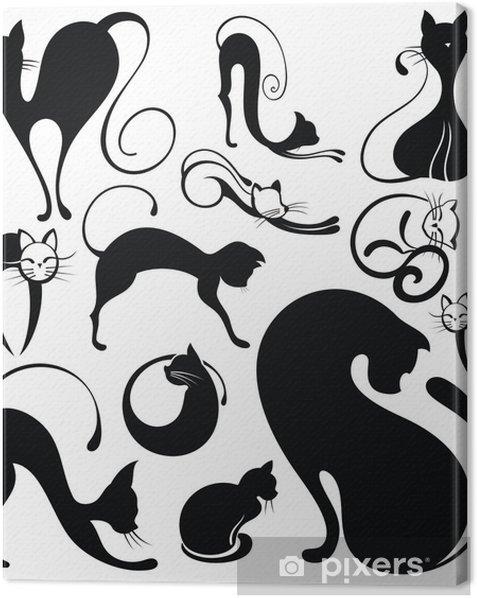 Leinwandbild Set Katze Silhouetten - Bereich