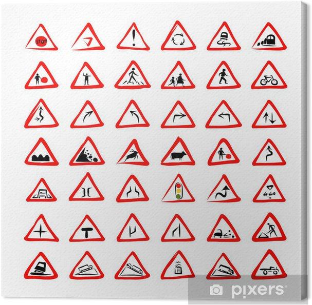 Leinwandbild Set von 42 Verkehrszeichen Skizze für Ihr Design - Zeichen und Symbole
