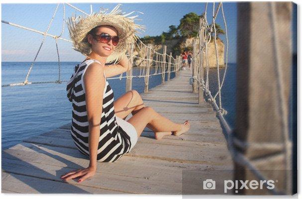 Leinwandbild Sexy Frau auf Holzbrücke, Zakynthos, Griechenland - Urlaub