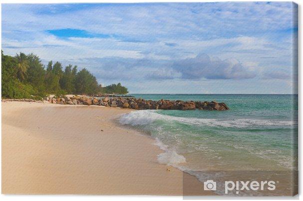 Leinwandbild Seychellen tropischen Strand bei Sonnenuntergang - Urlaub