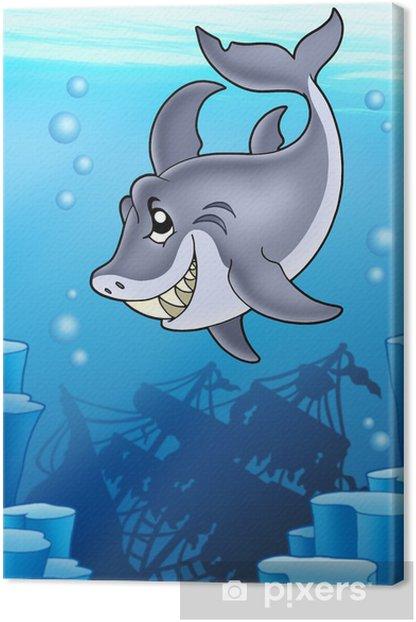 Leinwandbild Shark mit geheimnisvollen Schiffbruch - Unterwasserwelt