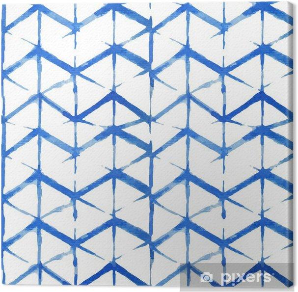 Leinwandbild Shibori indigo nahtlose Muster - Grafische Elemente