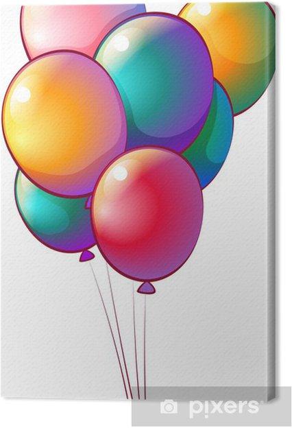 Leinwandbild Sieben Regenbogen-farbigen Ballons - Spiele