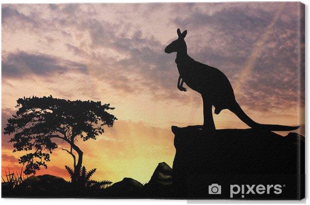 Leinwandbild Silhouette eines Kängurus - Säugetiere