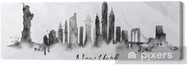 Leinwandbild Silhouette Tinte New York - Schwerindustrie