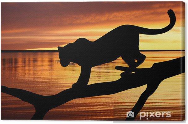 Leinwandbild Silhouette von Leopard auf einem Ast auf Sonnenuntergang Hintergrund - Themen