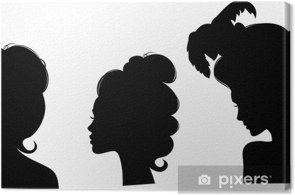 Leinwandbild Silhouetten Von Frisuren Des 19 Jahrhunderts Pixers
