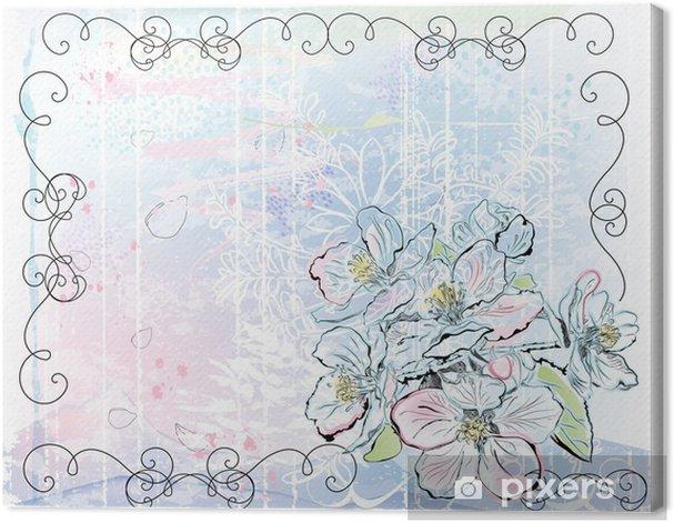 Leinwandbild Skizze der Apfelbaum in voller Blüte - Jahreszeiten