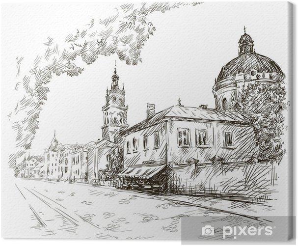 Leinwandbild Skizze einer Straße. Alte Stadt. Stadtzentrum. Vektor - Europa