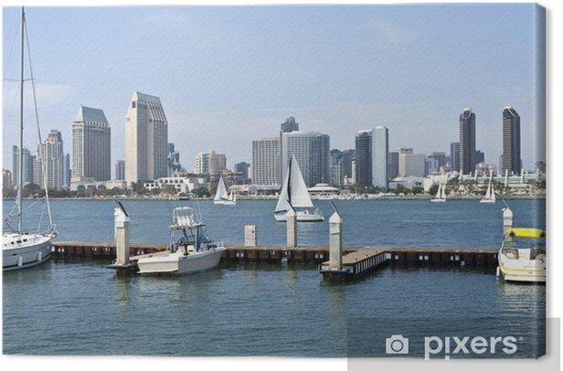 Leinwandbild Skyline von San Diego und ein kleiner Yachthafen. - Amerika