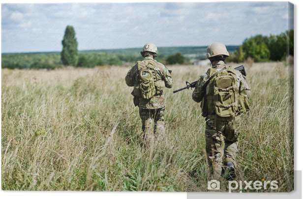 Leinwandbild Soldier in Streifenwagen - Kriminalität und Gewalt