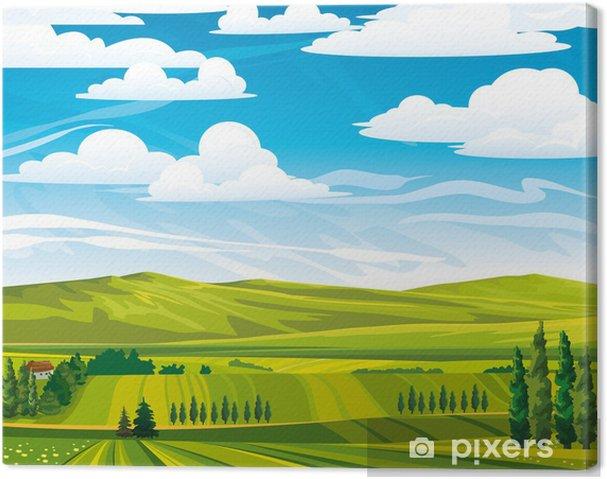 Leinwandbild Sommer Landschaft mit grünen Wiesen - Jahreszeiten