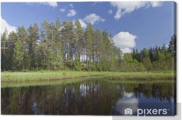 Leinwandbild Sommer See in Schweden, Weitwinkel-Foto - Wasser