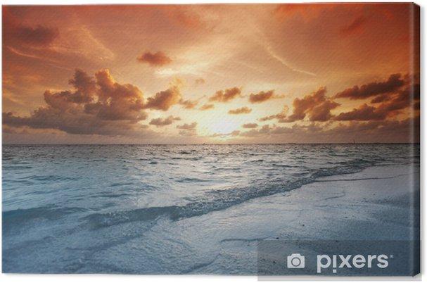 Leinwandbild Sonnenuntergang am Strand - Urlaub