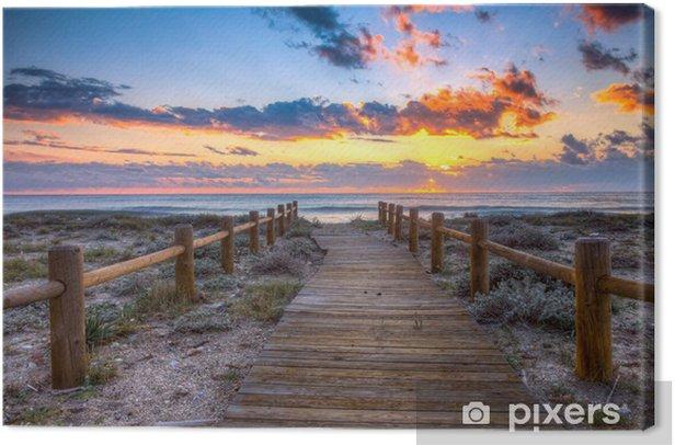 Leinwandbild Sonnenuntergang am Strand - Himmel