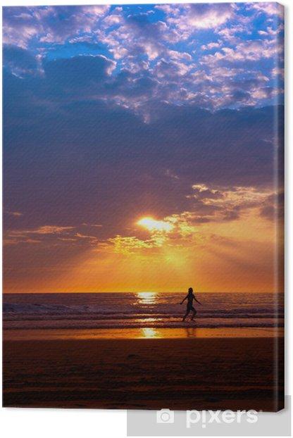 Leinwandbild Sonnenuntergang am Strand - Wasser
