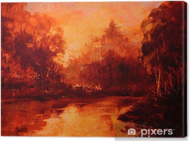 Leinwandbild Sonnenuntergang im Wald am Fluss, Ölgemälde auf Leinwand, Illustration - Hobbys und Freizeit
