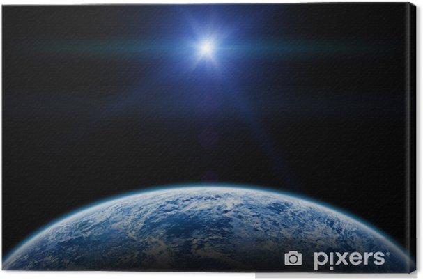 Leinwandbild Sonnenuntergang / Sonnenaufgang über der Erde auf einer sternenlosen Himmel. - Erde