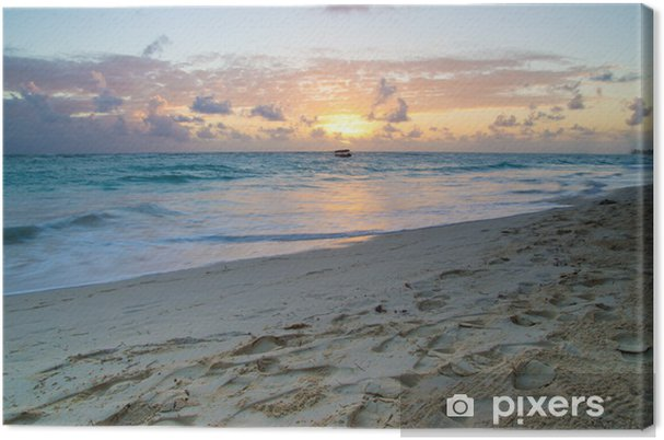 Leinwandbild Sonnenuntergang über dem Meer - Wasser