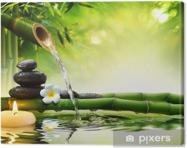 Leinwandbild Spa-Steine im Garten mit Flusswasser - Stile