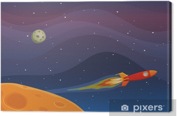 Leinwandbild Spaceship Travel In Space -