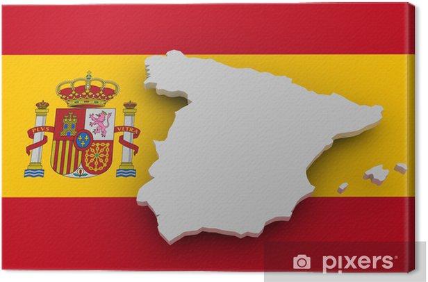 Leinwandbild Spanien Landkarte auf Flagge - Europäische Städte