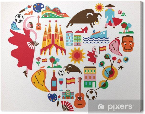 Leinwandbild Spanien Liebe - Herz mit einem Satz von Vektor-Icons - Natur