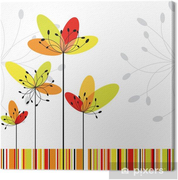 Leinwandbild Springtime abstrakte Blumen auf bunten Streifen Hintergrund - Hintergründe