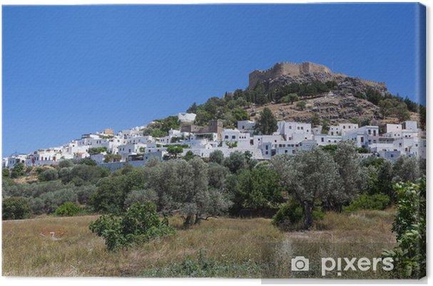 Leinwandbild Stadt Lindos auf Rhodos, Griechenland - Europa