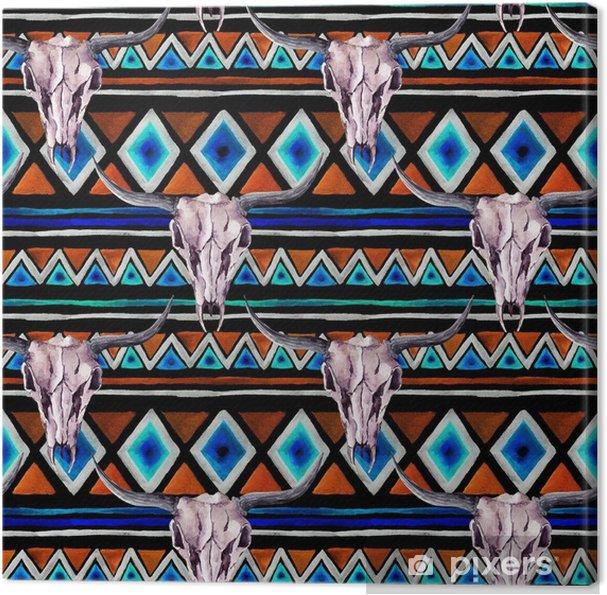 Leinwandbild Stammes-Muster - Tierschädel. nahtloser Hintergrund mit trendigen Stammes-Design. Aquarell - Grafische Elemente