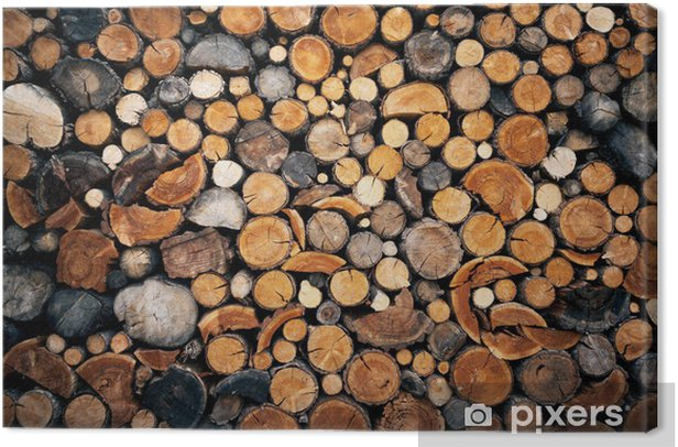 Leinwandbild Stapel der gehackten Brennholz HINTERGRUND - Texturen