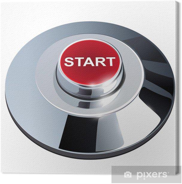 Leinwandbild Start button, 3d red metallischen chrom, isoliert. - Internet und Netzwerke