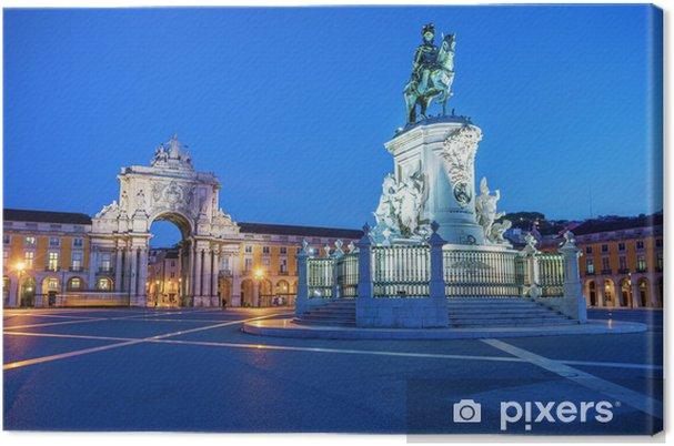 Leinwandbild Statue von König Joze ich in Abendablichtung - Europäische Städte
