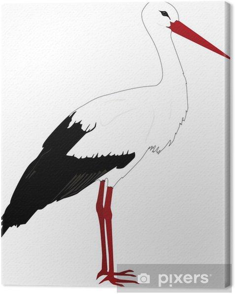 Leinwandbild Stehender Storch Umriss - Wandtattoo