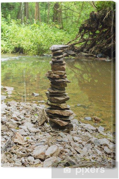 Leinwandbild Steine Pyramide in der Nähe von kleinen Fluss - Jahreszeiten