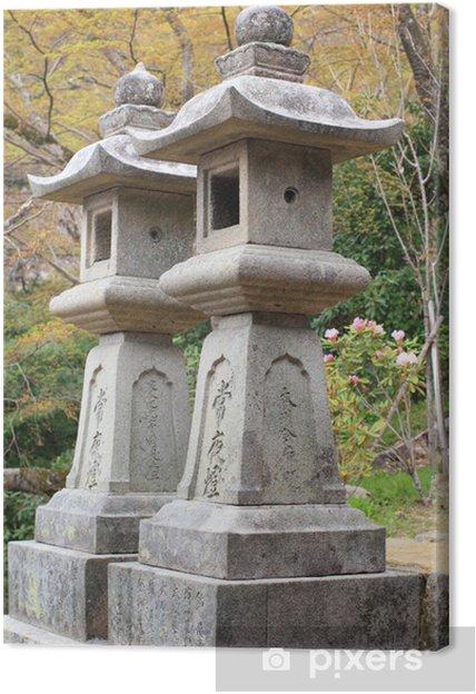 Leinwandbild Steinturm japanische Laternen im Hasedera Tempel Nara Japan - Haus und Garten