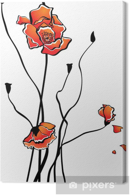 Leinwandbild Stilisierte Mohn - Blumen