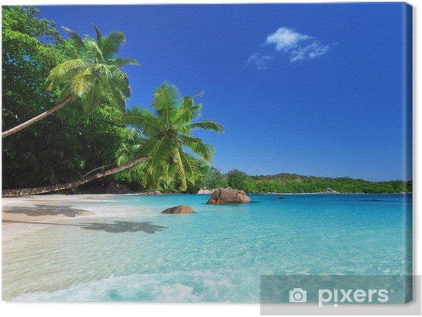 Leinwandbild Strand an der Insel Praslin, Seychellen - Themen