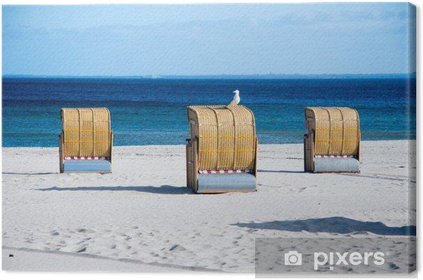 Leinwandbild Strandkorb mit möwe - Urlaub