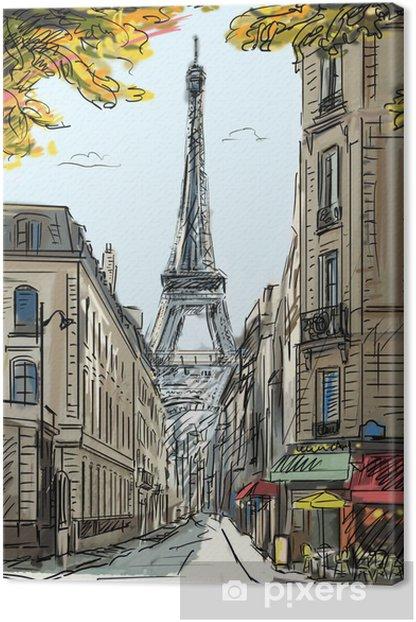 Leinwandbild Street in paris - illustration - Themen