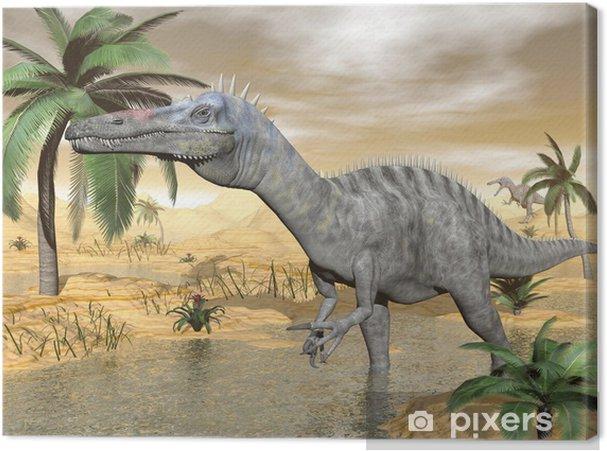 Leinwandbild Suchomimus dinosaurs in desert - 3D render - Themen