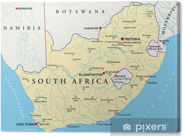 Südafrika Karte.Leinwandbild Südafrika Karte Südafrika Landkarte