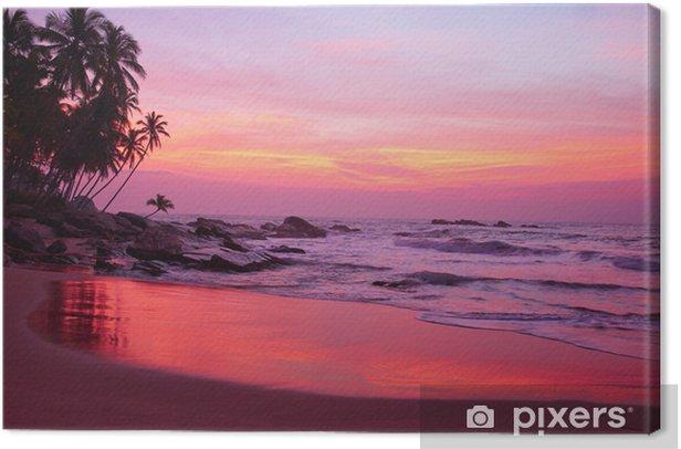 Leinwandbild Sunset and Tropical beach - Wasser