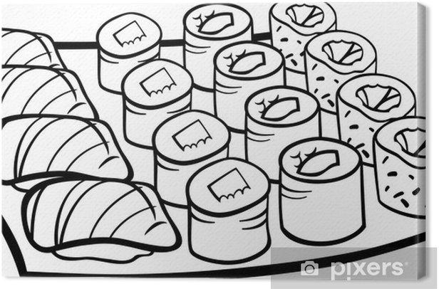leinwandbild sushimittagessen cartoon malvorlagen