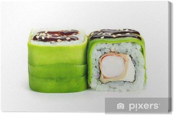 Leinwandbild Sushi-Rollen mit Avocado und Garnelen isoliert auf weißem Hintergrund - Essen