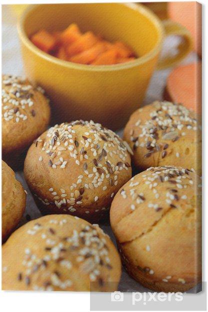 Leinwandbild Süsskartoffel (batata) Brötchen - Themen