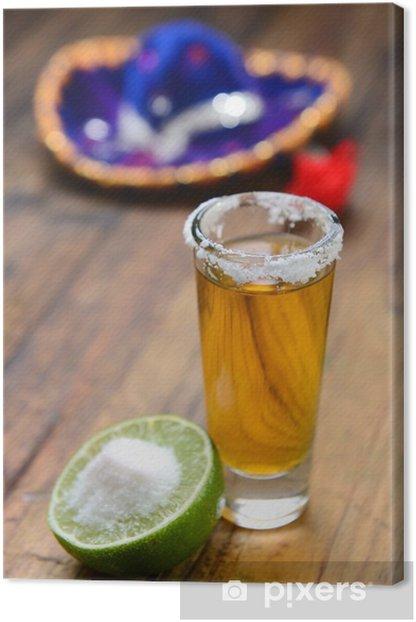 Leinwandbild Tequila schießen serviert mit Zitrone und Salz - Alkohol