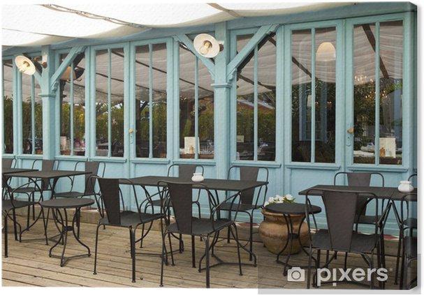 Leinwandbild Terrasse Kaffee Bistro Restaurant Holz Möbel