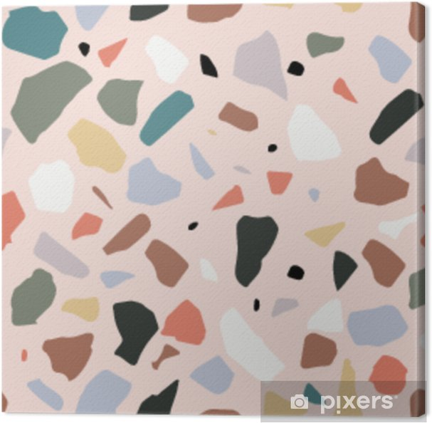 Leinwandbild Terrazzo nahtlose Muster. Pastellfarben. Marmor. - Grafische Elemente