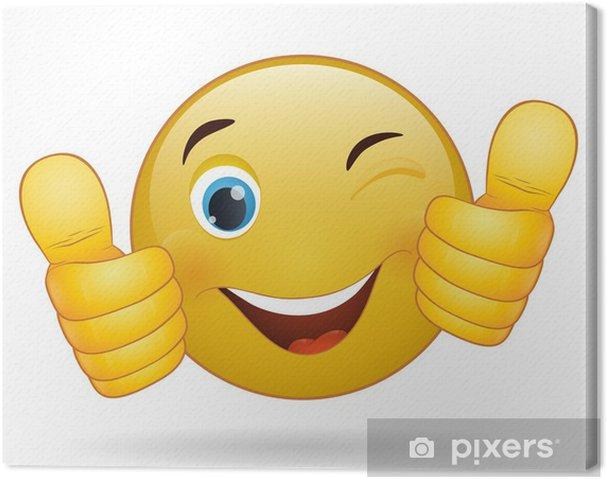 leinwandbild thumb up emoticon gelbe zeichen